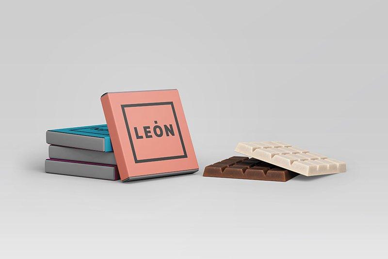 Chocolatinas Merchandising Marca León