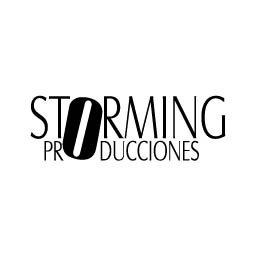 Logo en negativo de Storming Producciones